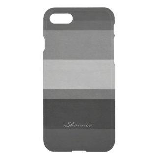 Caja rayada clara negra y gris de encargo del funda para iPhone 7