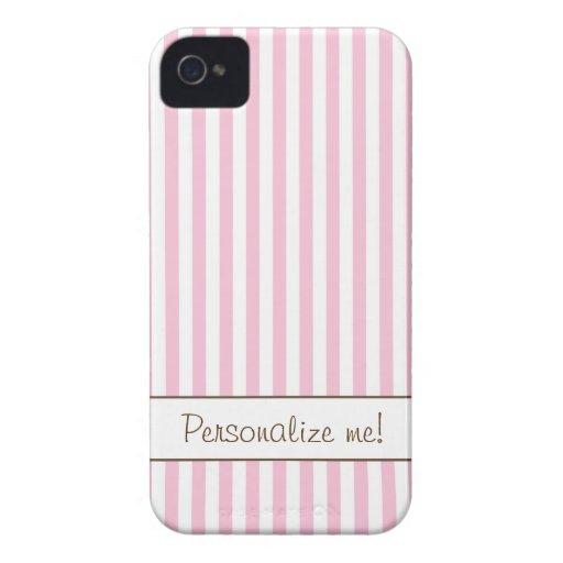 Caja rayada del rosa y blanca del iPhone 4/4s, iPhone 4 Protectores