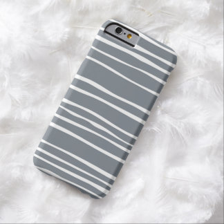 Caja rayada enrrollada gris del iPhone 6 Funda De iPhone 6 Barely There