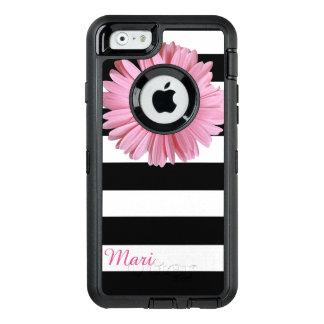 Caja rayada flor rosada del iPhone 6 de Otterbox Funda OtterBox Defender Para iPhone 6