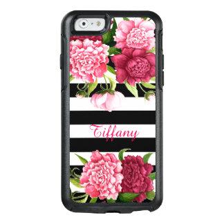 Caja rayada Peonies rosados del iPhone 6 de Funda Otterbox Para iPhone 6/6s