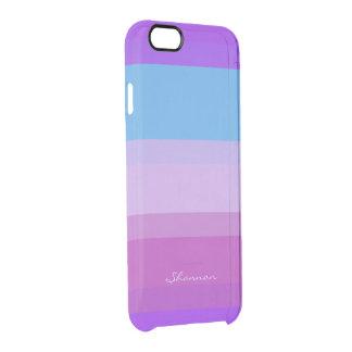 Caja rayada púrpura y azul elegante del iPhone 6 Funda Clearly™ Deflector Para iPhone 6 De Uncommon