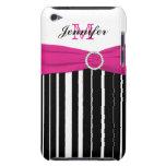 Caja rayada rosada, negra, blanca del tacto de iPo iPod Touch Case-Mate Protectores
