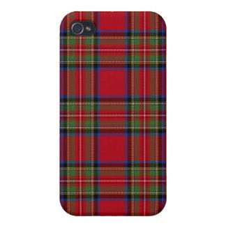 Caja real de la tela escocesa de tartán de Stewart iPhone 4 Fundas