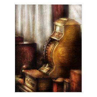 Caja registradora de cobre amarillo postal