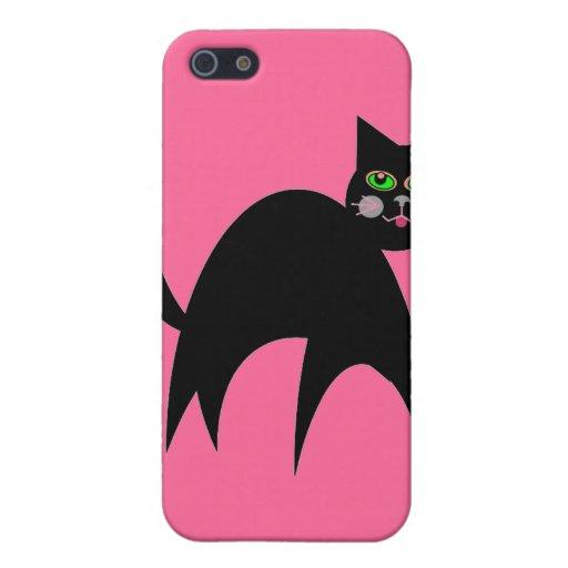 Caja retra adaptable de Iphone del gato negro iPhone 5 Carcasa