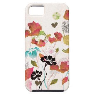 Caja retra de la casamata de las amapolas iPhone 5 carcasa
