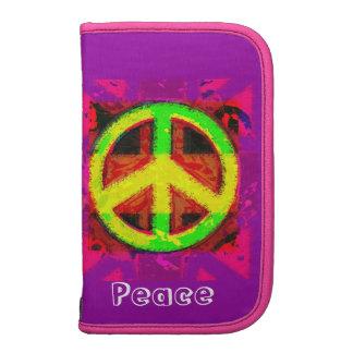 caja retra del folio del arte del signo de la paz  organizador