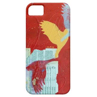 Caja roja abstracta del teléfono de los pájaros iPhone 5 cárcasa