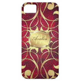 Caja roja afiligranada de Barely There del oro ado iPhone 5 Cobertura