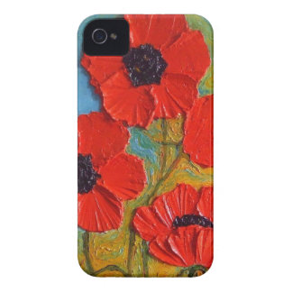Caja roja alta del iPhone 4 de las amapolas de Par Case-Mate iPhone 4 Carcasas