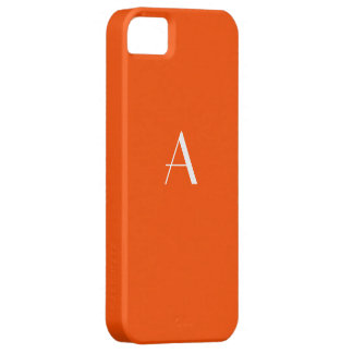Caja roja bermellona del iPhone 5 del monograma iPhone 5 Protectores