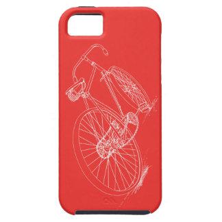 Caja roja/blanca del dibujo retro de la bicicleta, funda para iPhone 5 tough
