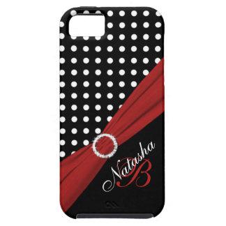 Caja roja blanca negra del iPhone 5 de los lunares iPhone 5 Fundas
