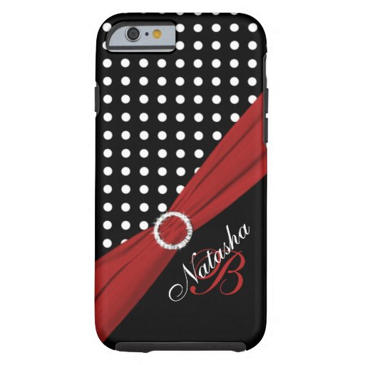 Caja roja blanca negra del iPhone 6 de los lunares Funda De iPhone 6 Tough