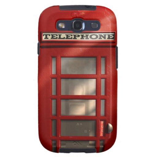 Caja roja británica de la galaxia de Phonebox Sams Galaxy S3 Fundas
