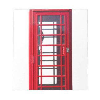 Caja roja británica famosa de la cabina de libretas para notas
