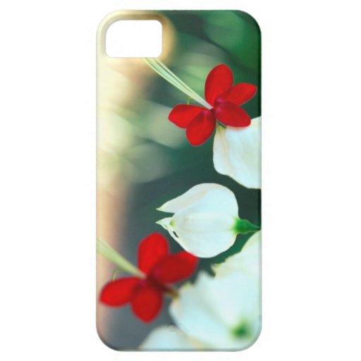 Caja roja colorida del iPhone de la flor iPhone 5 Cárcasas