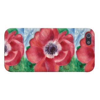 Caja roja de IPhone 4 de la amapola iPhone 5 Fundas