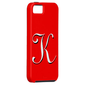 Caja roja de IPhone 5 del monograma de K iPhone 5 Carcasas