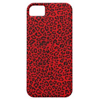 Caja roja de Iphone 5S del estampado leopardo iPhone 5 Protectores