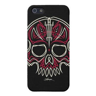 caja roja de Iphone del cráneo de la tela a rayas iPhone 5 Cobertura