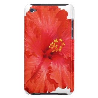 Caja roja de iTouch de la flor del hibisco Barely There iPod Protector