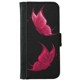 Caja roja de la cartera de la mariposa funda cartera para iPhone 6