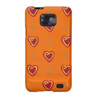 Caja roja de la casamata de Samsung de los corazon Galaxy S2 Carcasa