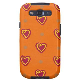 Caja roja de la casamata de Samsung de los corazon Samsung Galaxy S3 Carcasa