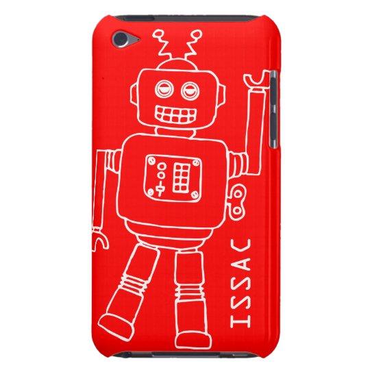Caja roja de la diversión y blanca nombrada robot funda iPod