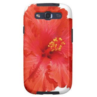 Caja roja de la galaxia de Samsung de la flor del Samsung Galaxy S3 Coberturas
