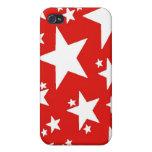 Caja roja de la mota de la estrella iPhone 4 protector