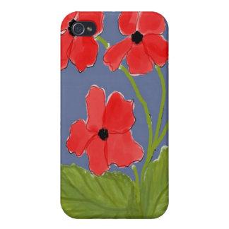 Caja roja de la mota de las amapolas iPhone 4/4S funda