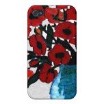 Caja roja de la mota de las amapolas iPhone 4 cárcasas
