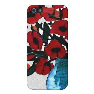 Caja roja de la mota de las amapolas iPhone 5 funda