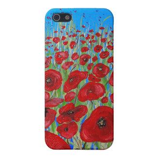 Caja roja de la mota de las amapolas iPhone 5 carcasas