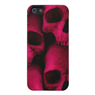 Caja roja de la mota de los cráneos iPhone 5 fundas