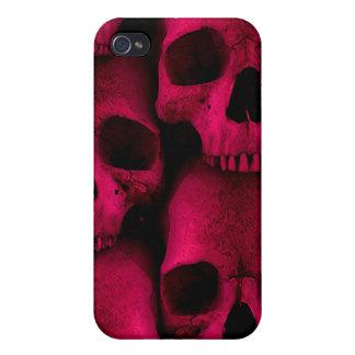 Caja roja de la mota de los cráneos iPhone 4 protectores