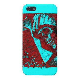 Caja roja de la mota del cráneo iPhone 5 cárcasa