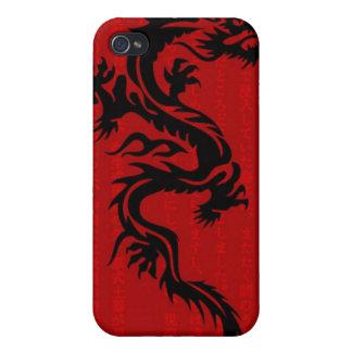 Caja roja de la mota del iPhone 4 4S del dragón iPhone 4/4S Fundas