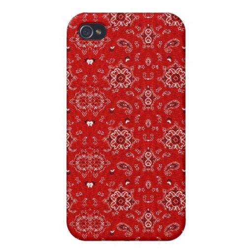 Caja roja de la mota del pañuelo iPhone 4/4S carcasa