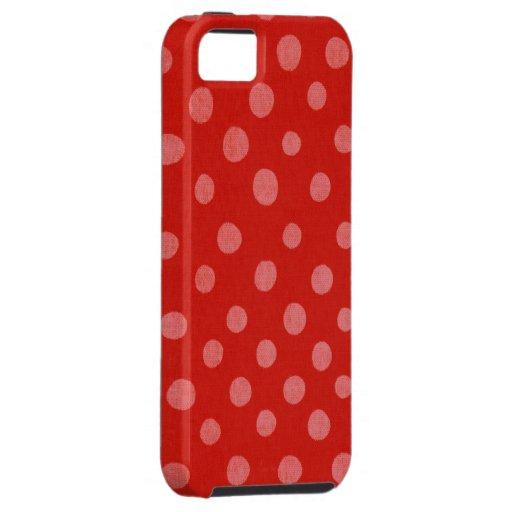 Caja roja de los lunares hechos a mano iPhone 5 cárcasa