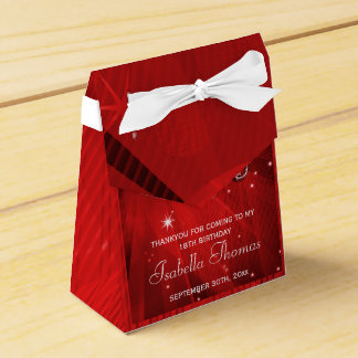 Caja roja del favor de los talones de la bola de d paquete de regalo
