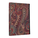 Caja roja del folio del iPad de Paisley del vintag