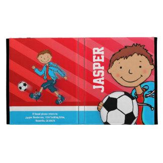 Caja roja del folio del ipad del fútbol de los niñ