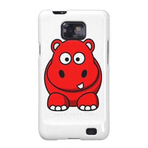 Caja roja del hipopótamo samsung galaxy s2 carcasa