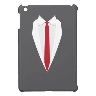 caja roja del ipad del lazo de la capa formal gris