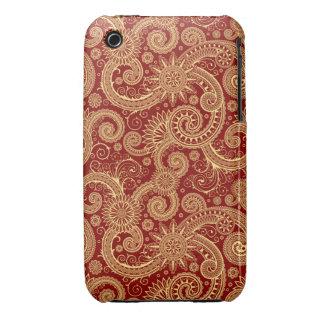 Caja roja del iPhone 3 de Paisley del oro Funda Bareyly There Para iPhone 3 De Case-Mate