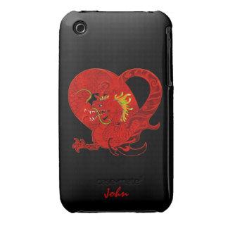 Caja roja del iPhone 3 del dragón Case-Mate iPhone 3 Cobertura